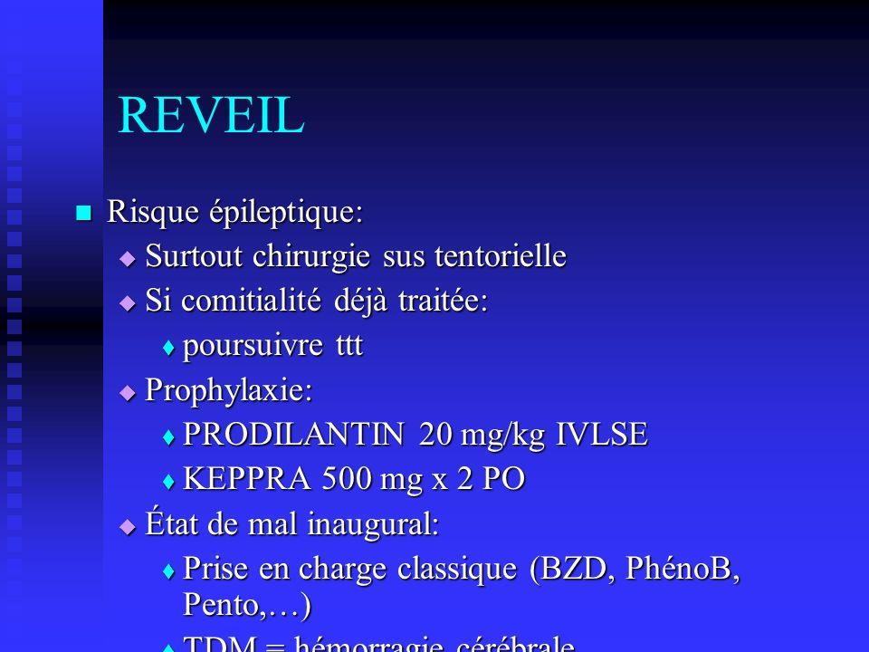 REVEIL Risque épileptique: Surtout chirurgie sus tentorielle