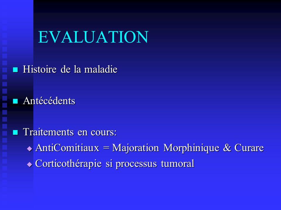 EVALUATION Histoire de la maladie Antécédents Traitements en cours: