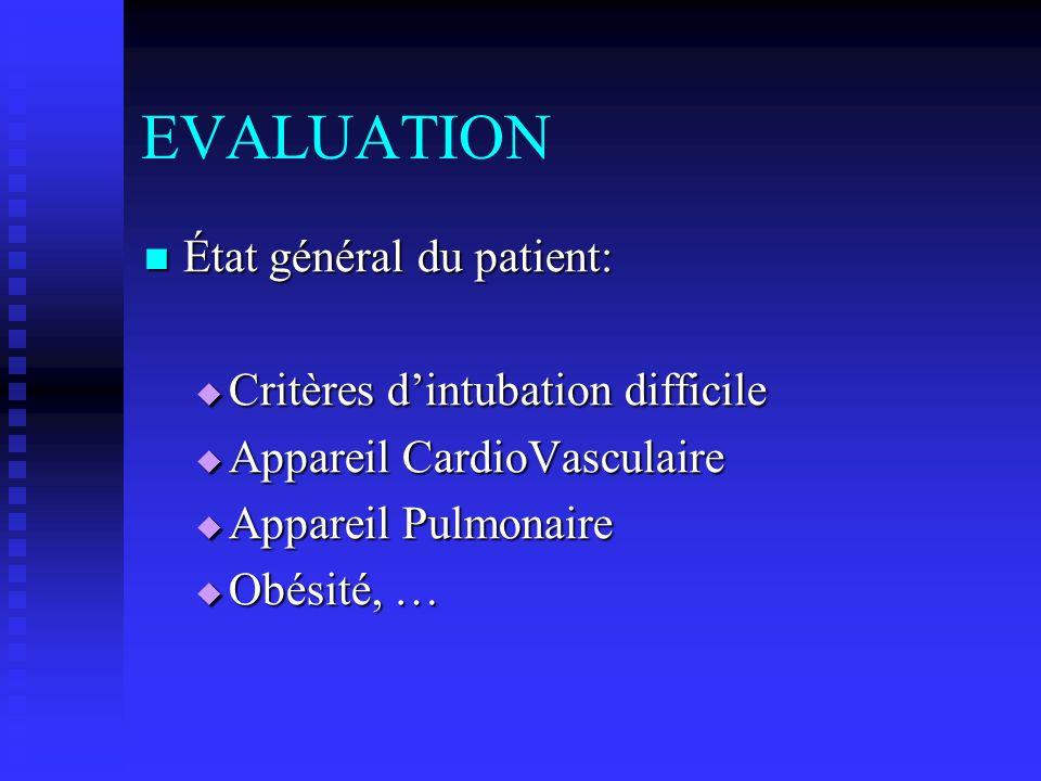 EVALUATION État général du patient: Critères d'intubation difficile