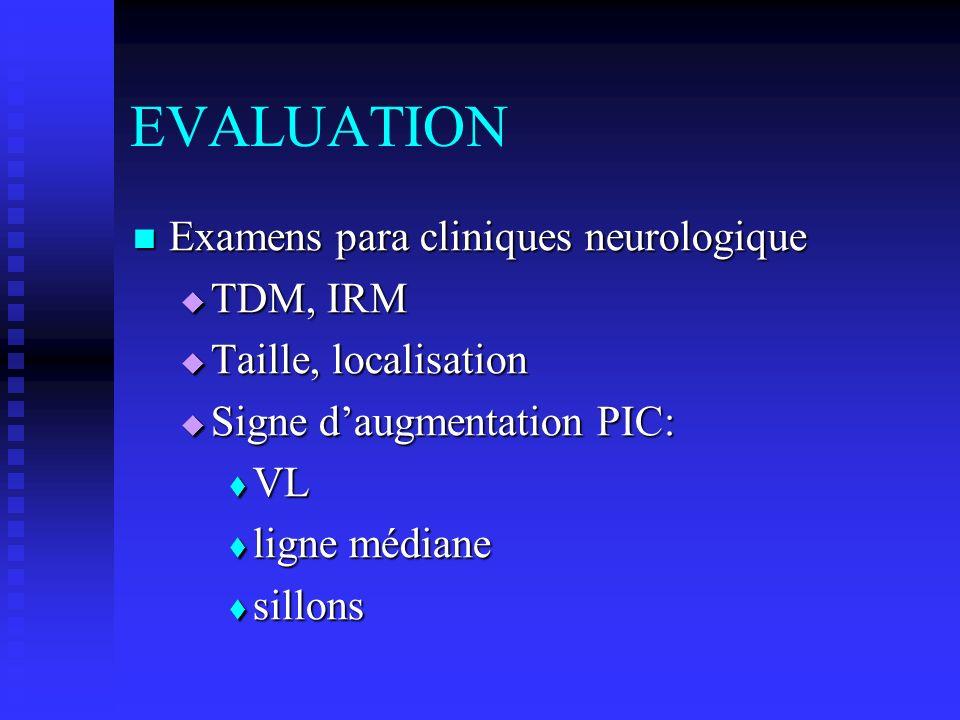 EVALUATION Examens para cliniques neurologique TDM, IRM