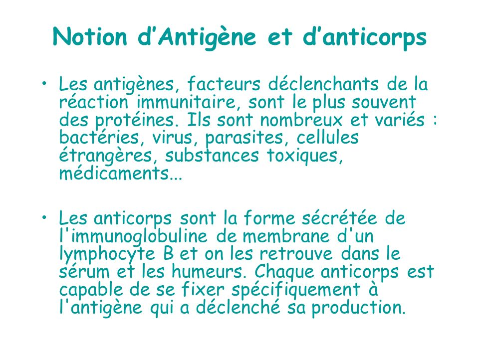 Notion d'Antigène et d'anticorps