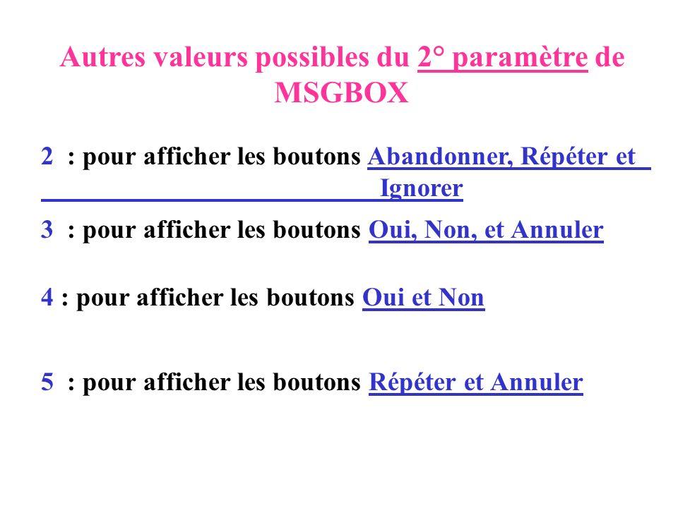 Autres valeurs possibles du 2° paramètre de MSGBOX