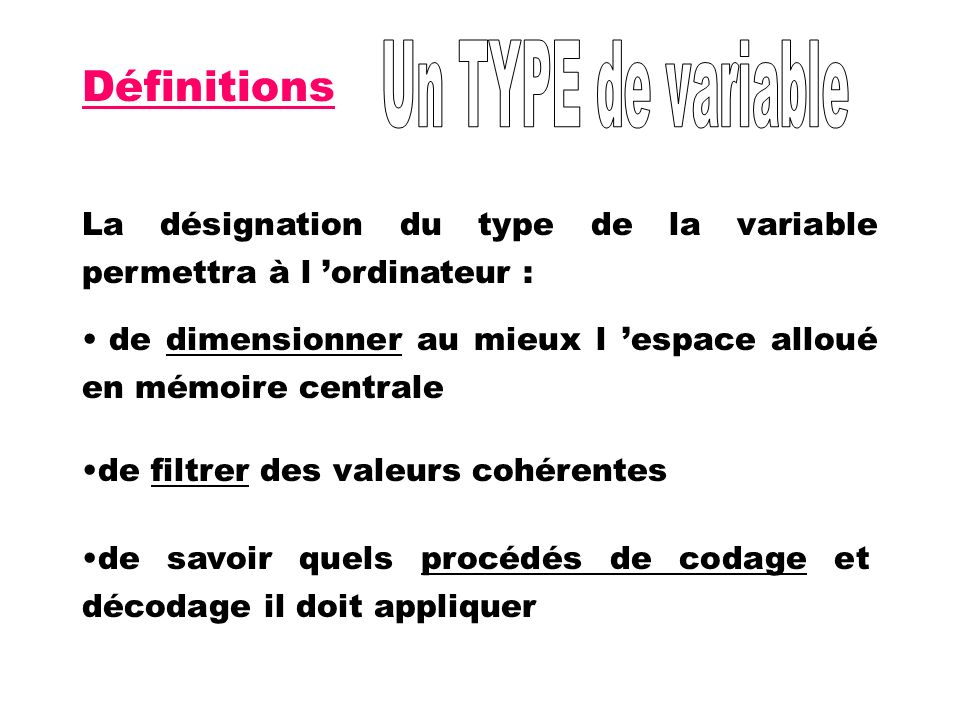 Définitions Un TYPE de variable