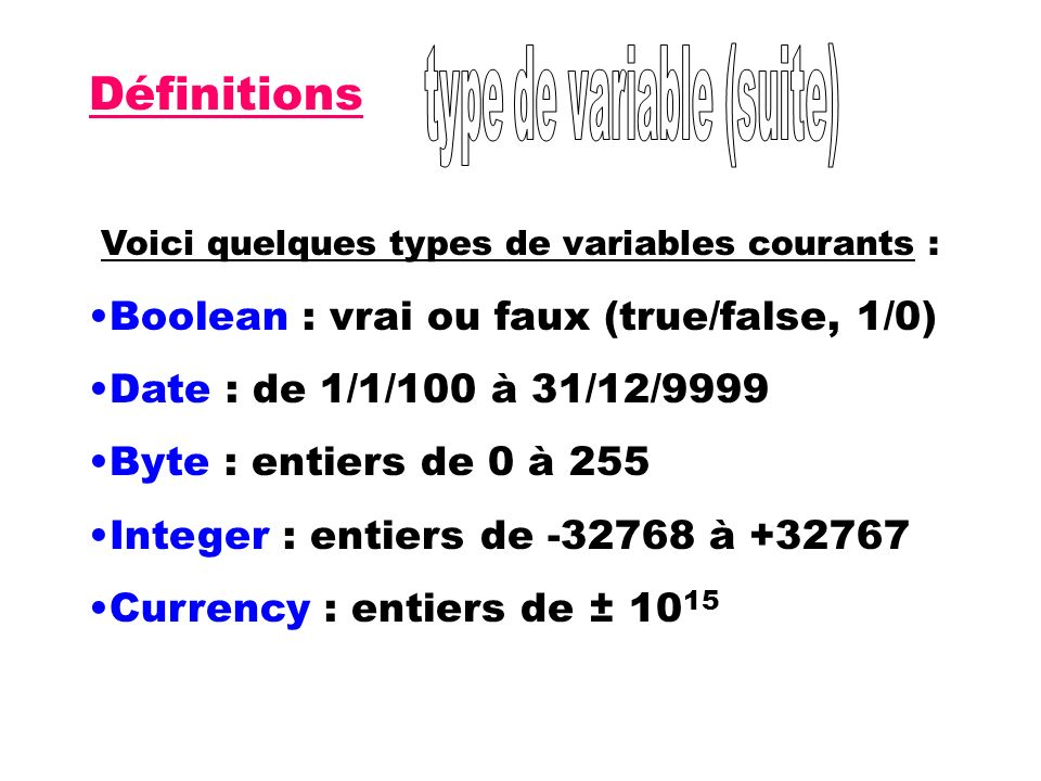 type de variable (suite)