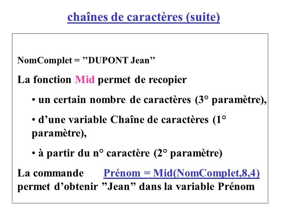 chaînes de caractères (suite)