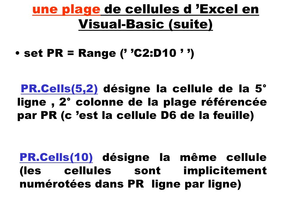 une plage de cellules d 'Excel en Visual-Basic (suite)