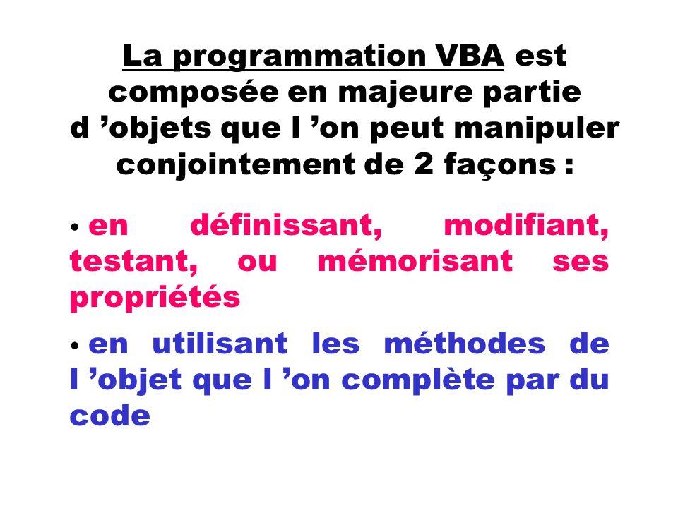La programmation VBA est composée en majeure partie d 'objets que l 'on peut manipuler conjointement de 2 façons :