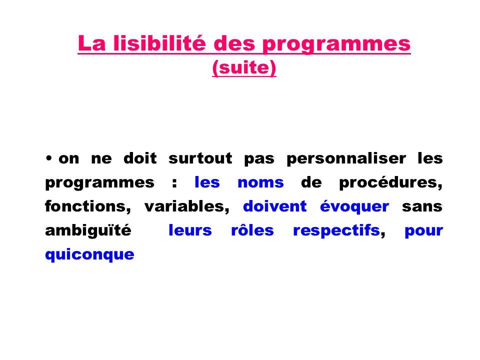 La lisibilité des programmes (suite)