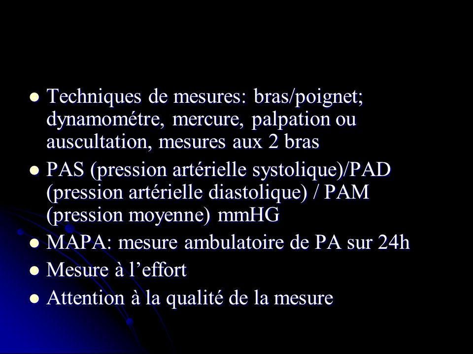 Techniques de mesures: bras/poignet; dynamométre, mercure, palpation ou auscultation, mesures aux 2 bras