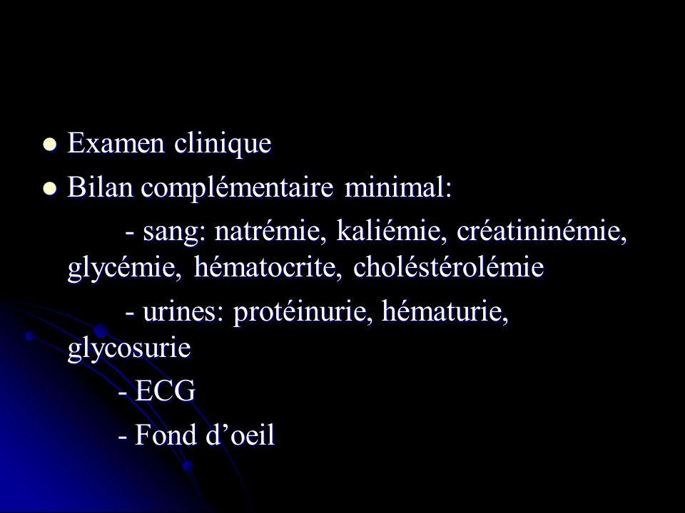 Examen clinique Bilan complémentaire minimal: - sang: natrémie, kaliémie, créatininémie, glycémie, hématocrite, choléstérolémie.