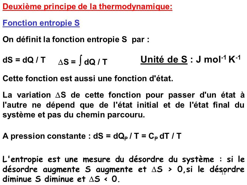 Unité de S : J mol-1 K-1 Deuxième principe de la thermodynamique: