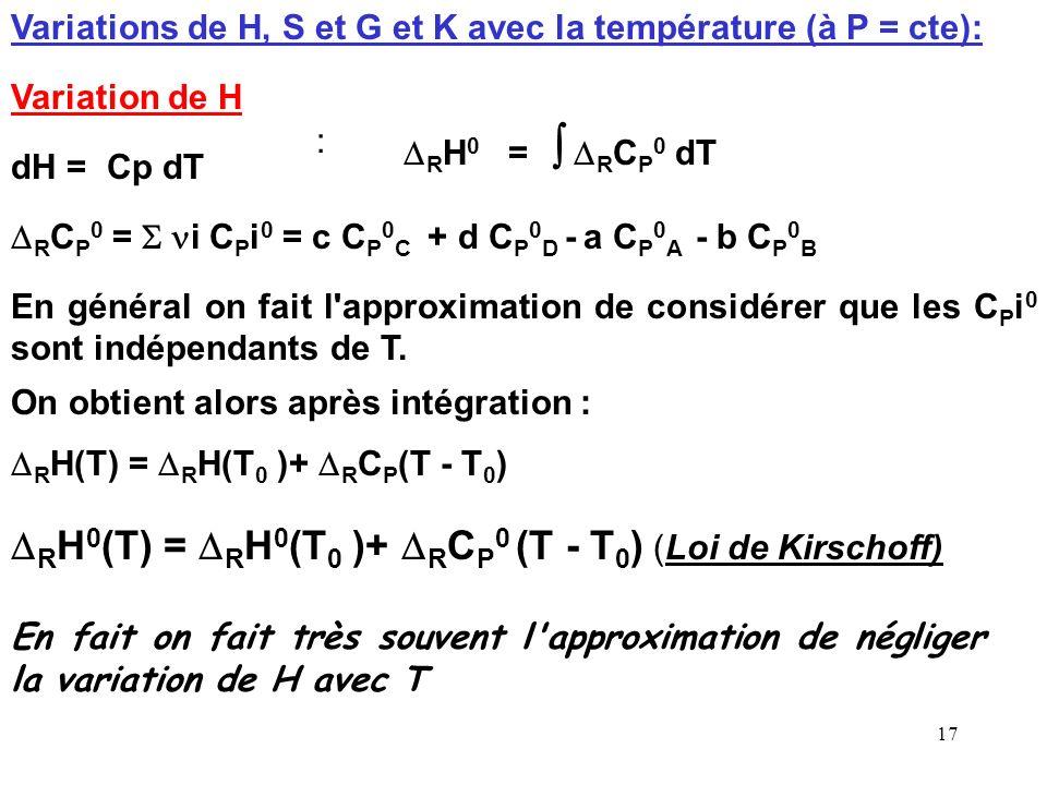 DRH0(T) = DRH0(T0 )+ DRCP0 (T - T0) (Loi de Kirschoff)