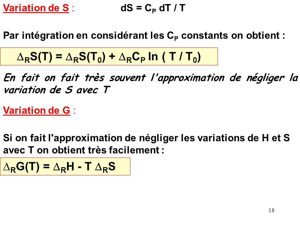 DRS(T) = DRS(T0) + DRCP ln ( T / T0)