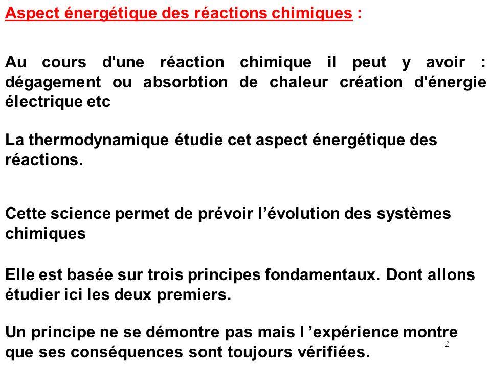Aspect énergétique des réactions chimiques :