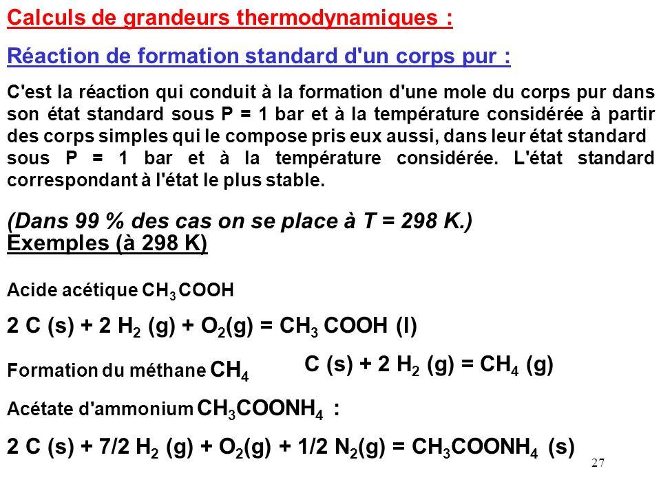 Calculs de grandeurs thermodynamiques :