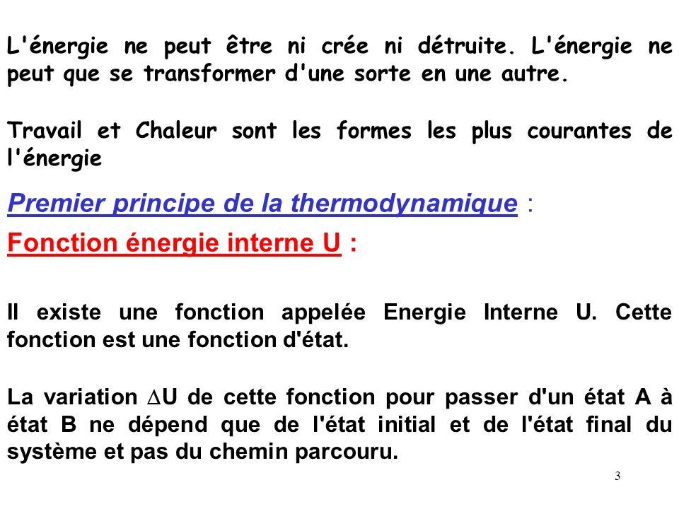 Premier principe de la thermodynamique :