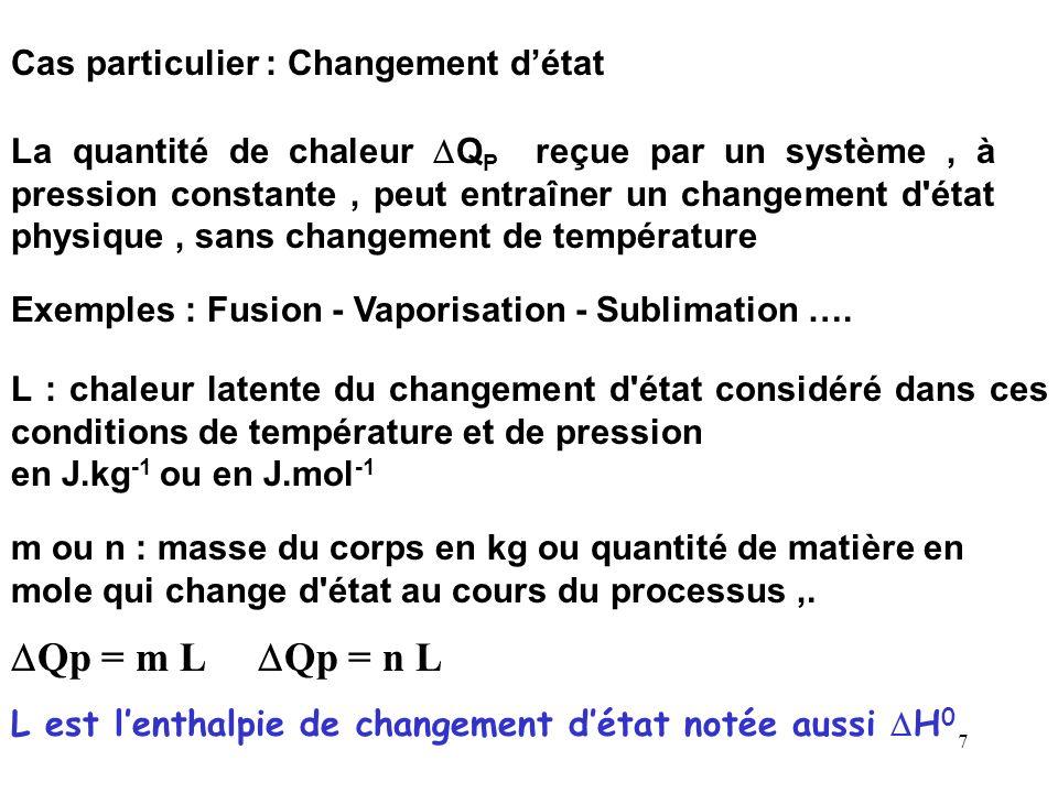 DQp = m L DQp = n L Cas particulier : Changement d'état