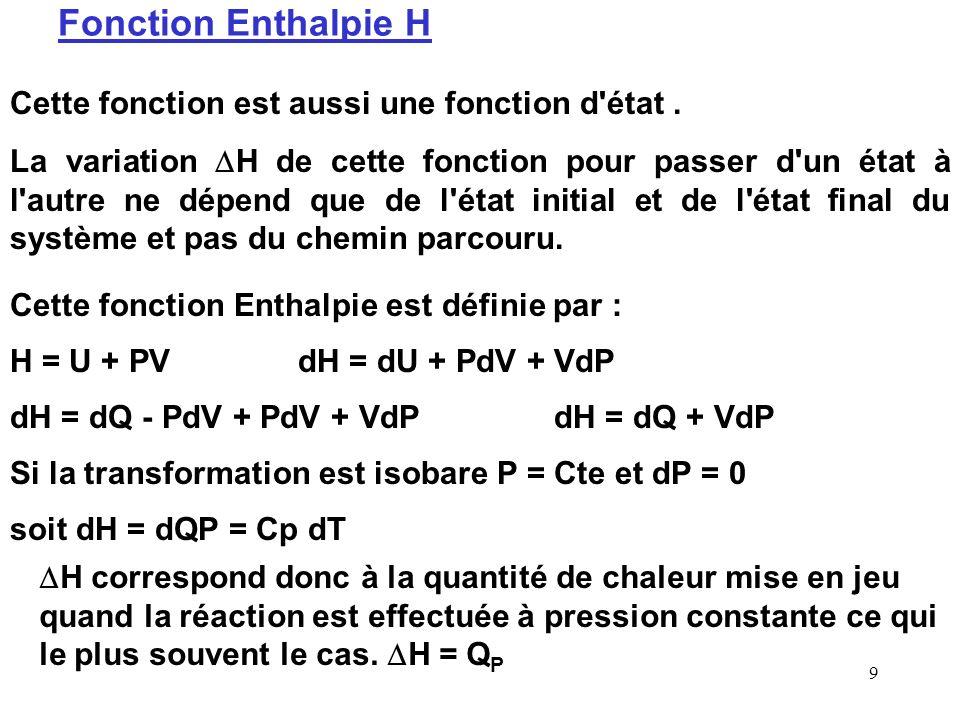 Fonction Enthalpie H Cette fonction est aussi une fonction d état .