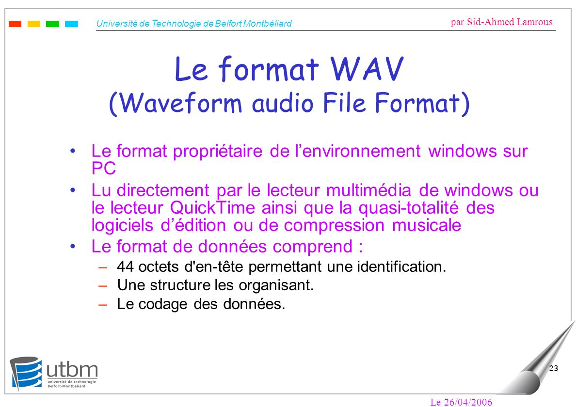 Le format WAV (Waveform audio File Format)