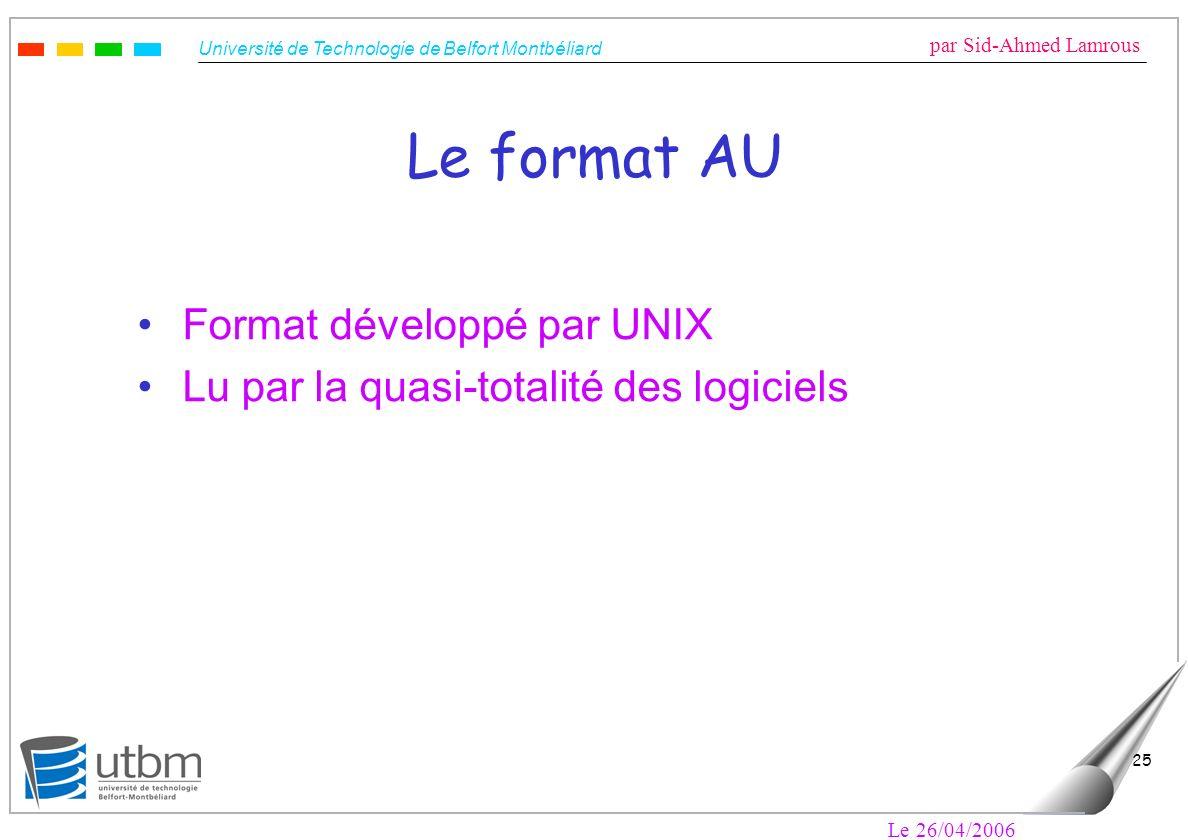 Le format AU Format développé par UNIX
