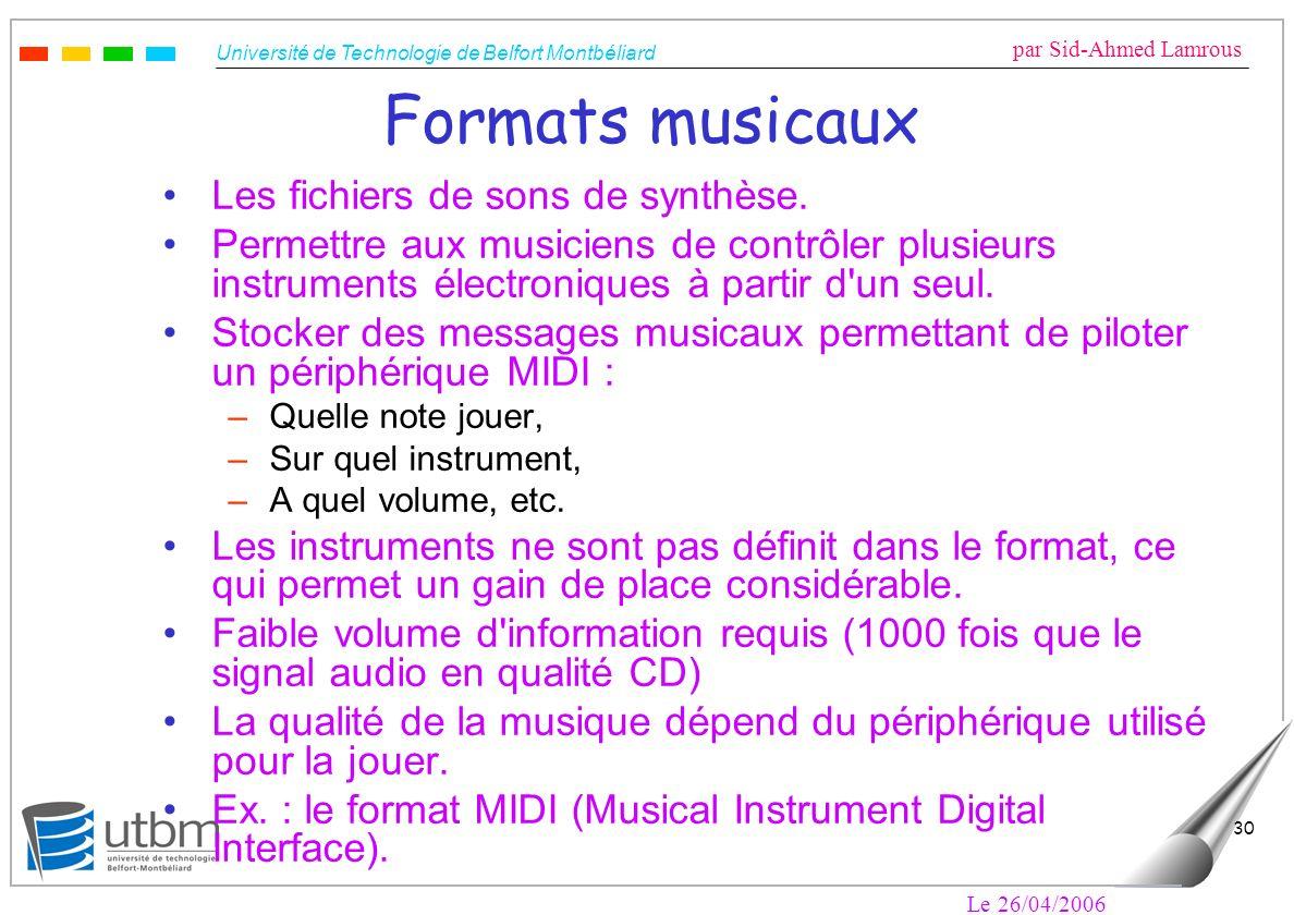Formats musicaux Les fichiers de sons de synthèse.