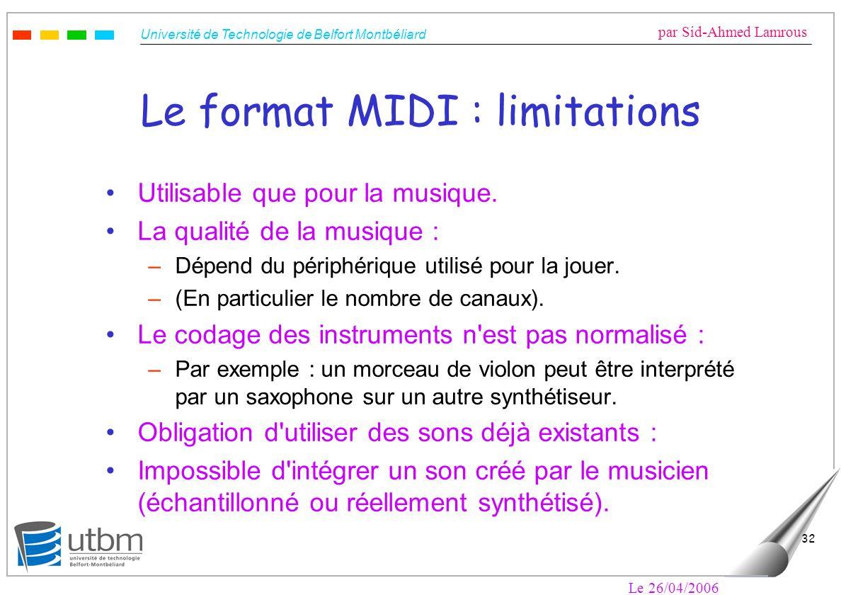 Le format MIDI : limitations