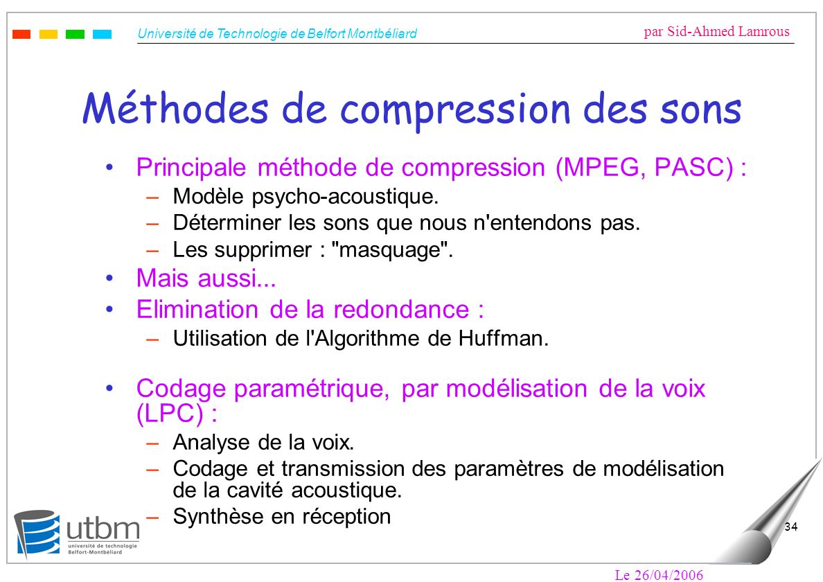 Méthodes de compression des sons