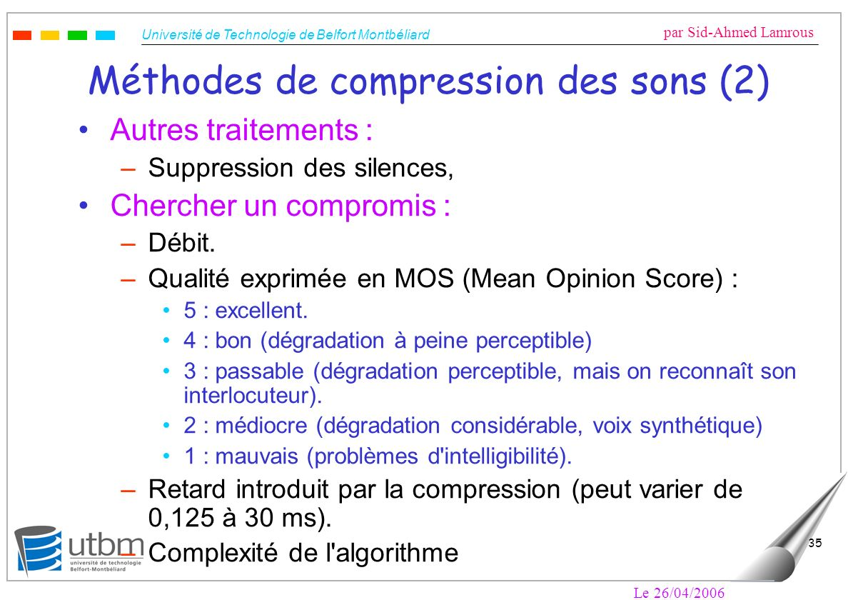 Méthodes de compression des sons (2)