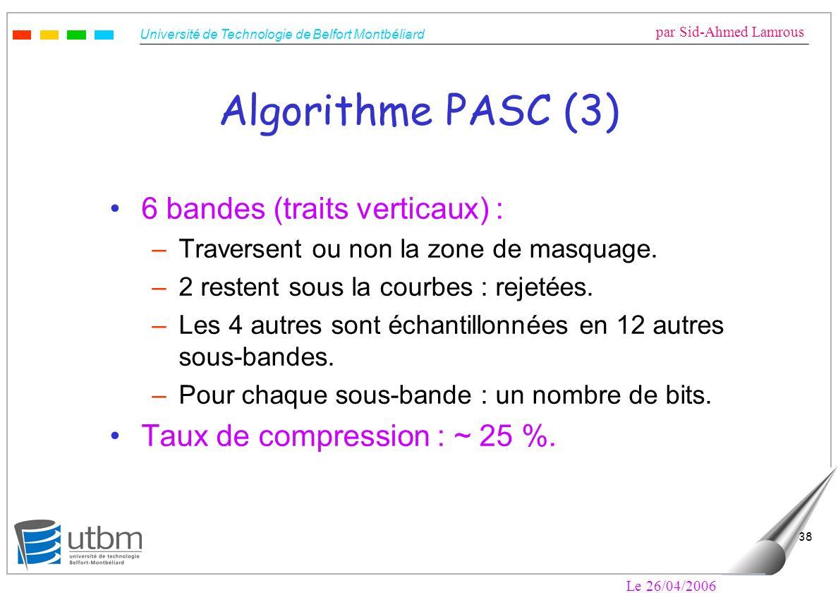 Algorithme PASC (3) 6 bandes (traits verticaux) :