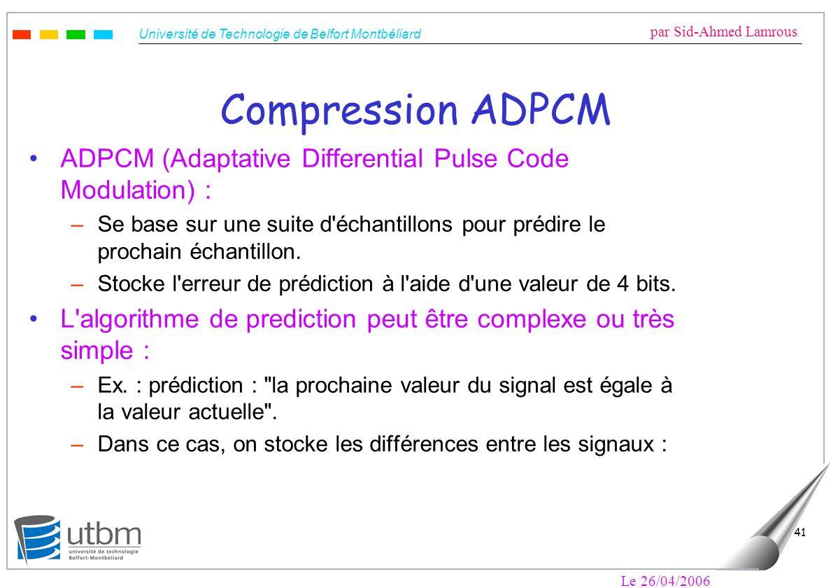 Compression ADPCM ADPCM (Adaptative Differential Pulse Code Modulation) : Se base sur une suite d échantillons pour prédire le prochain échantillon.