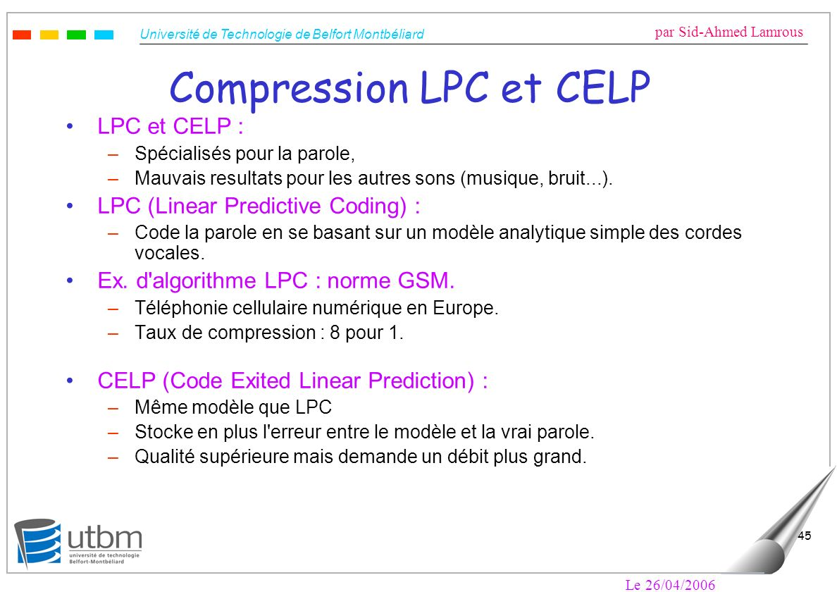 Compression LPC et CELP