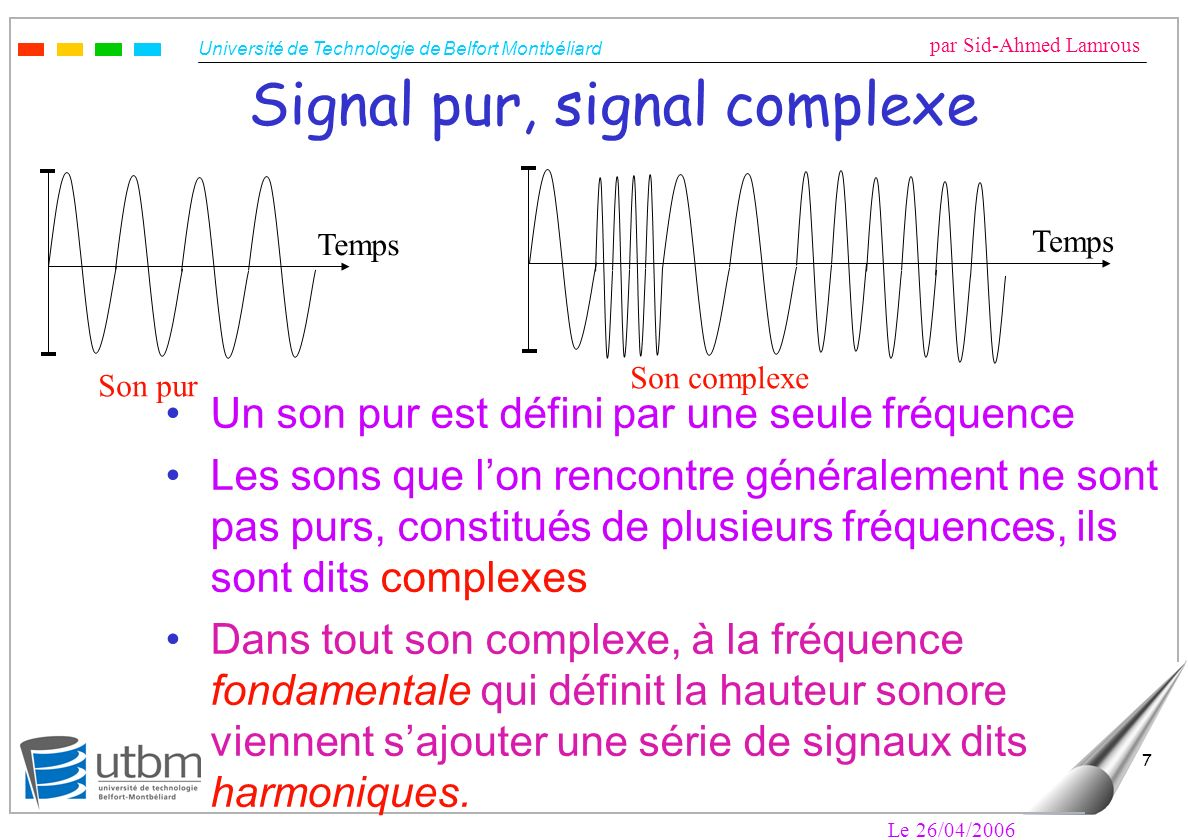 Signal pur, signal complexe