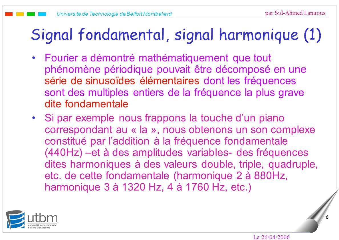 Signal fondamental, signal harmonique (1)