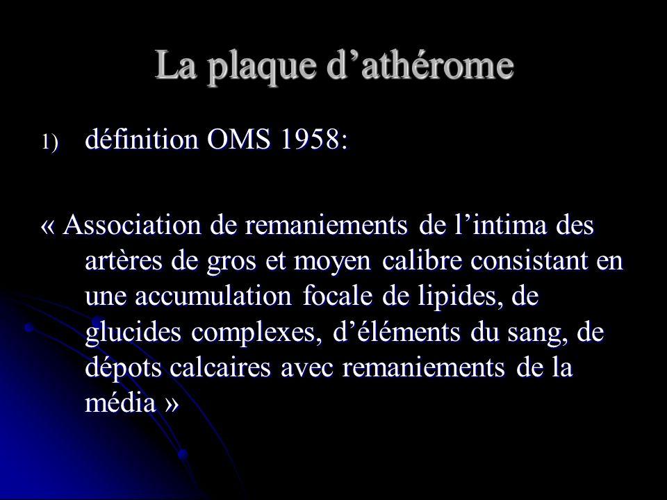 La plaque d'athérome définition OMS 1958: