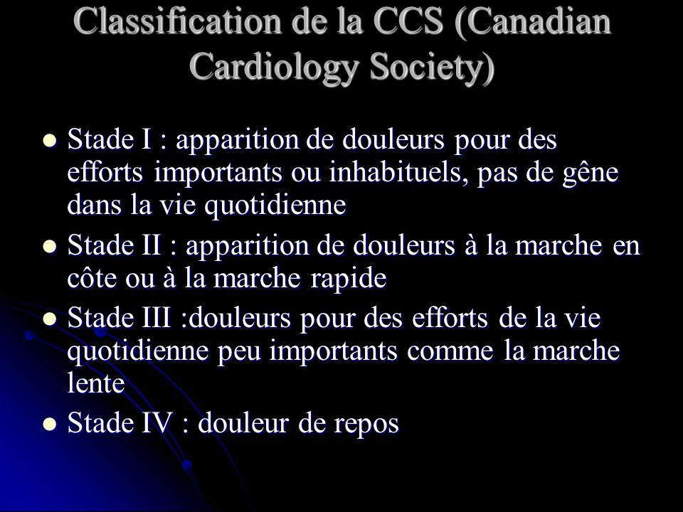 Classification de la CCS (Canadian Cardiology Society)