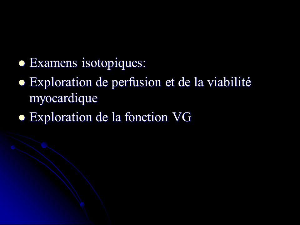 Examens isotopiques: Exploration de perfusion et de la viabilité myocardique.