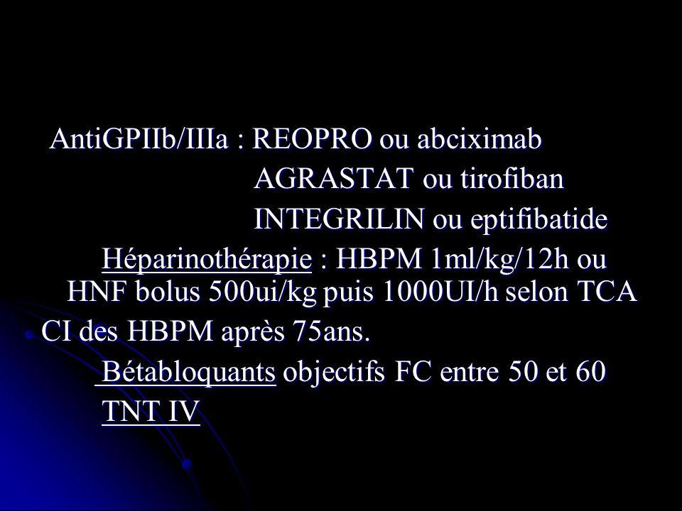 AntiGPIIb/IIIa : REOPRO ou abciximab