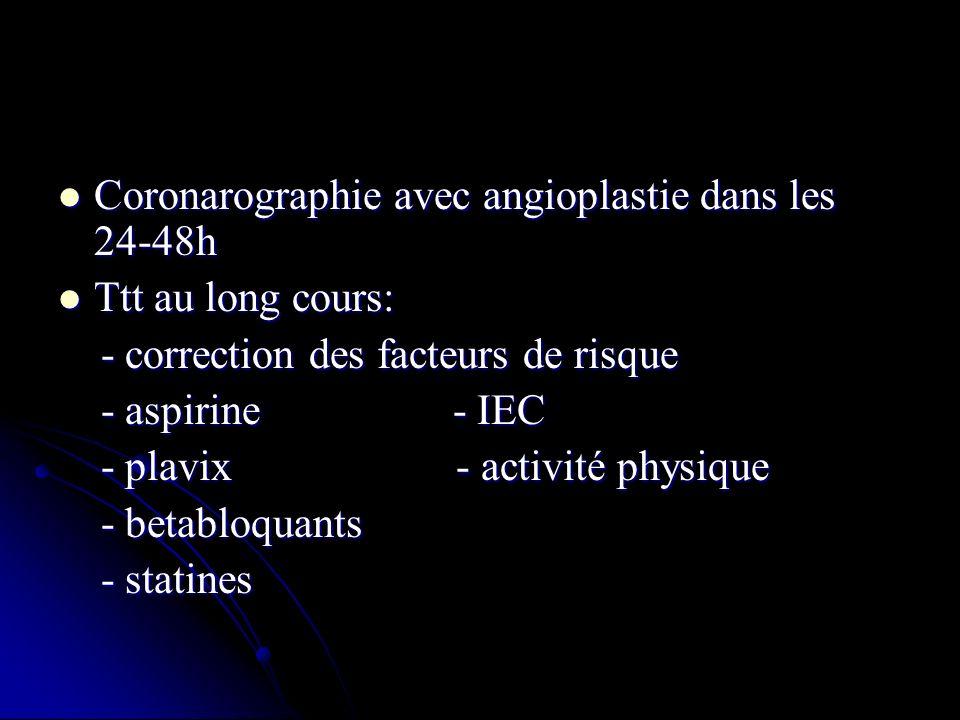 Coronarographie avec angioplastie dans les 24-48h