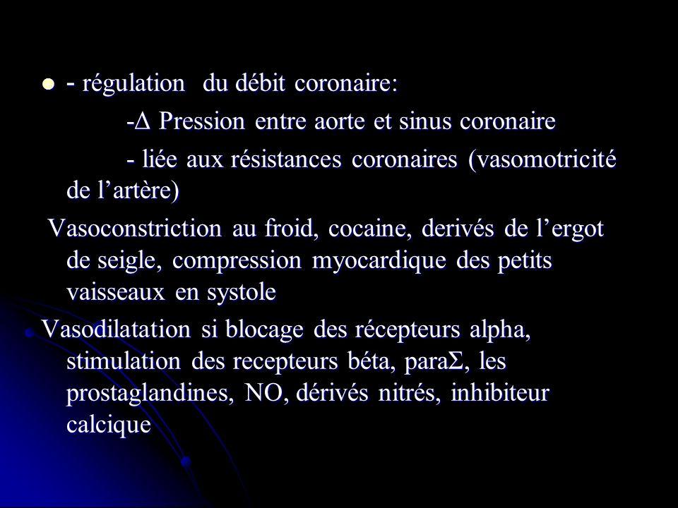 - régulation du débit coronaire: