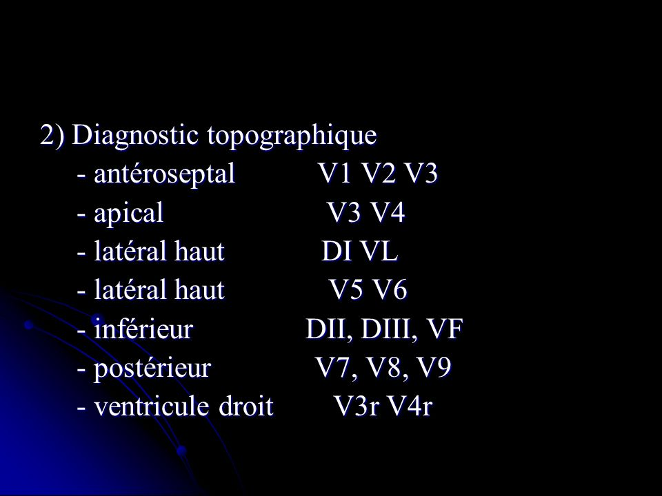 2) Diagnostic topographique