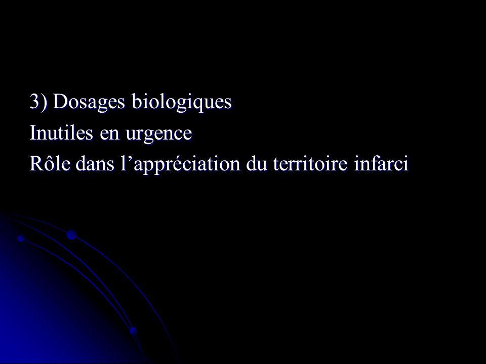 3) Dosages biologiques Inutiles en urgence Rôle dans l'appréciation du territoire infarci