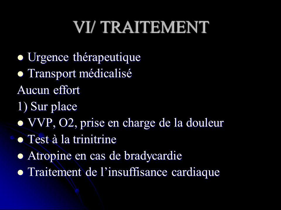 VI/ TRAITEMENT Urgence thérapeutique Transport médicalisé Aucun effort