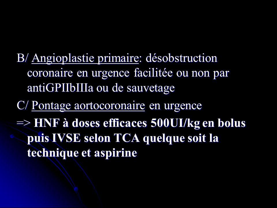 B/ Angioplastie primaire: désobstruction coronaire en urgence facilitée ou non par antiGPIIbIIIa ou de sauvetage