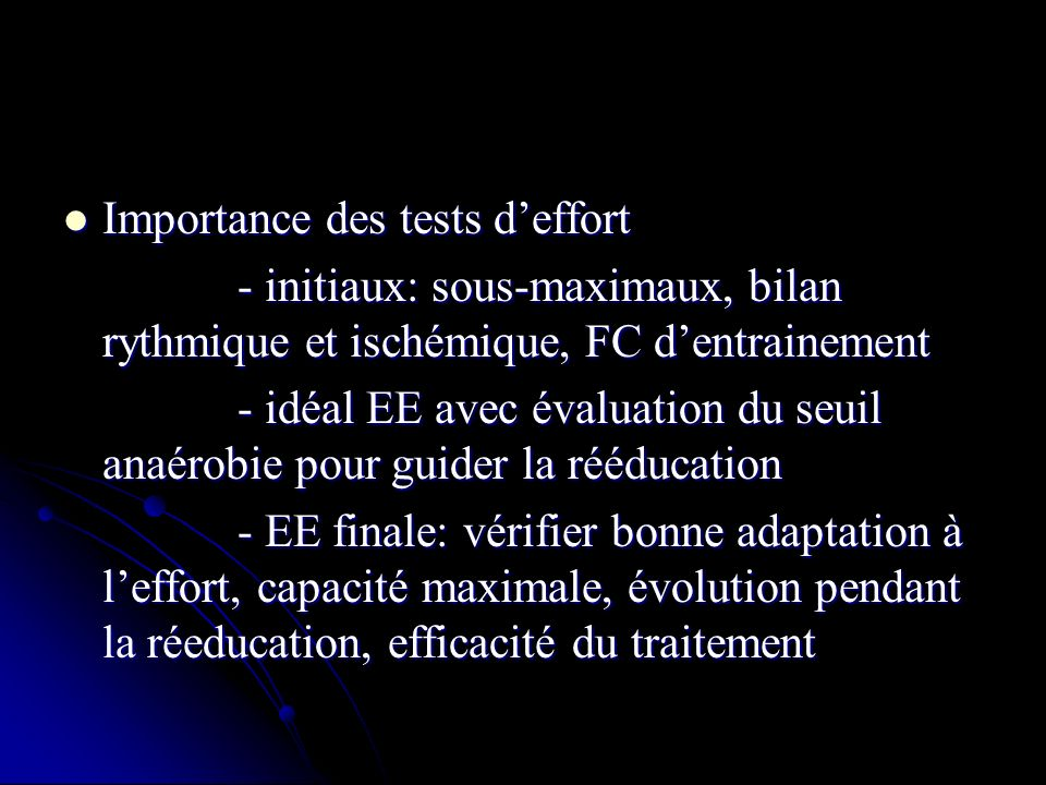 Importance des tests d'effort