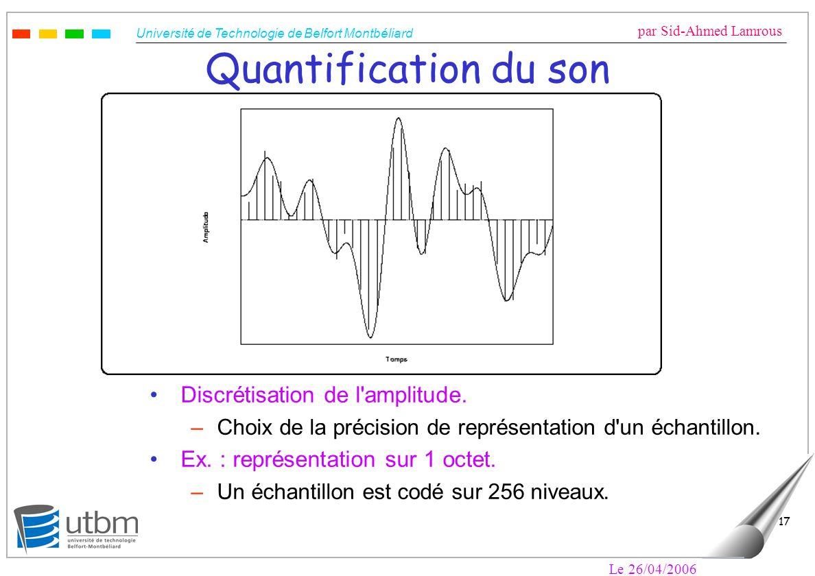 Quantification du son Discrétisation de l amplitude.