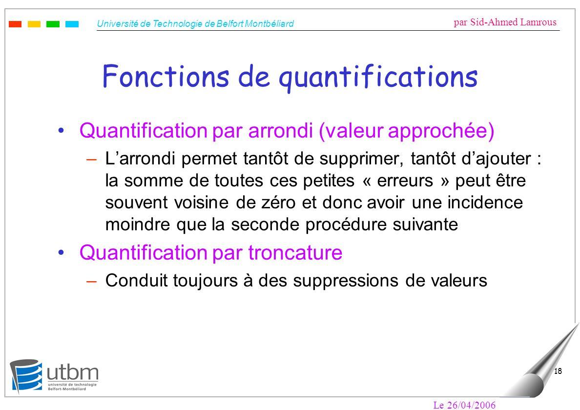 Fonctions de quantifications
