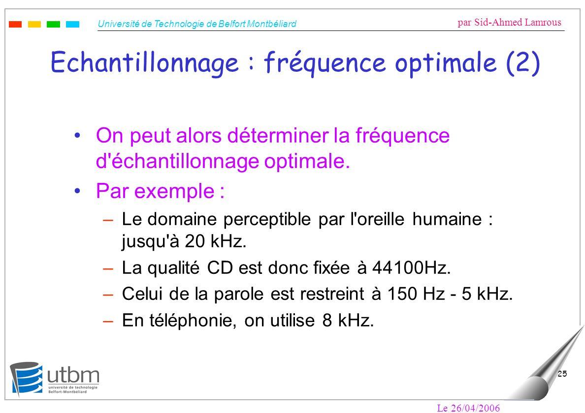 Echantillonnage : fréquence optimale (2)