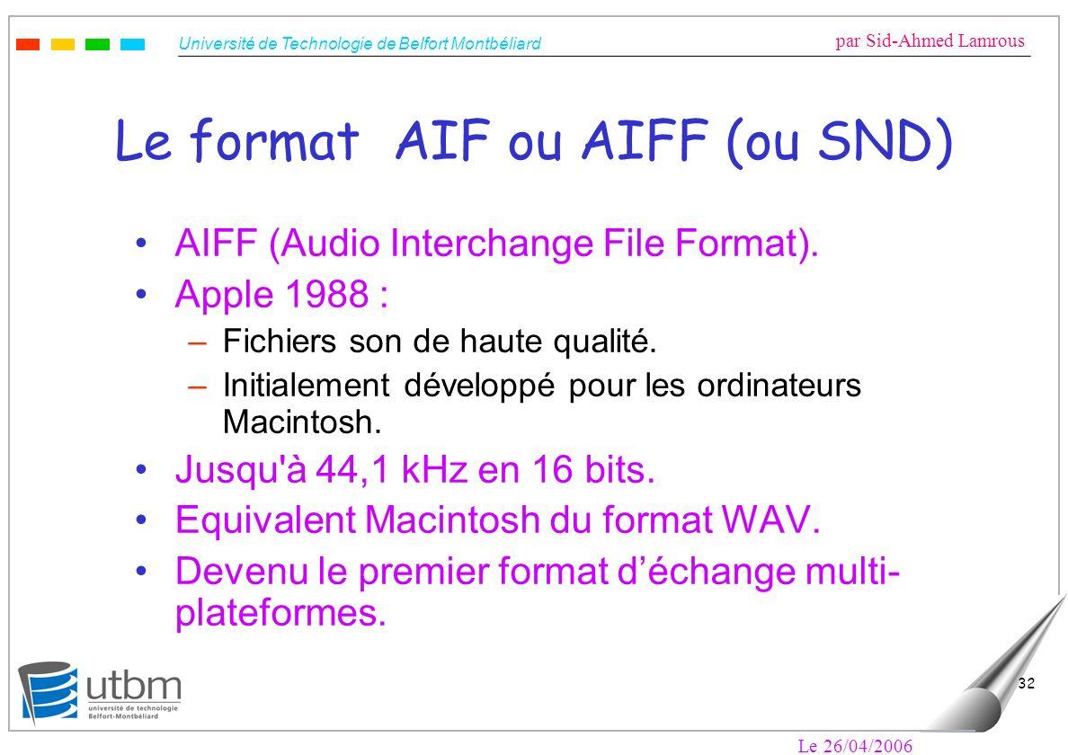 Le format AIF ou AIFF (ou SND)