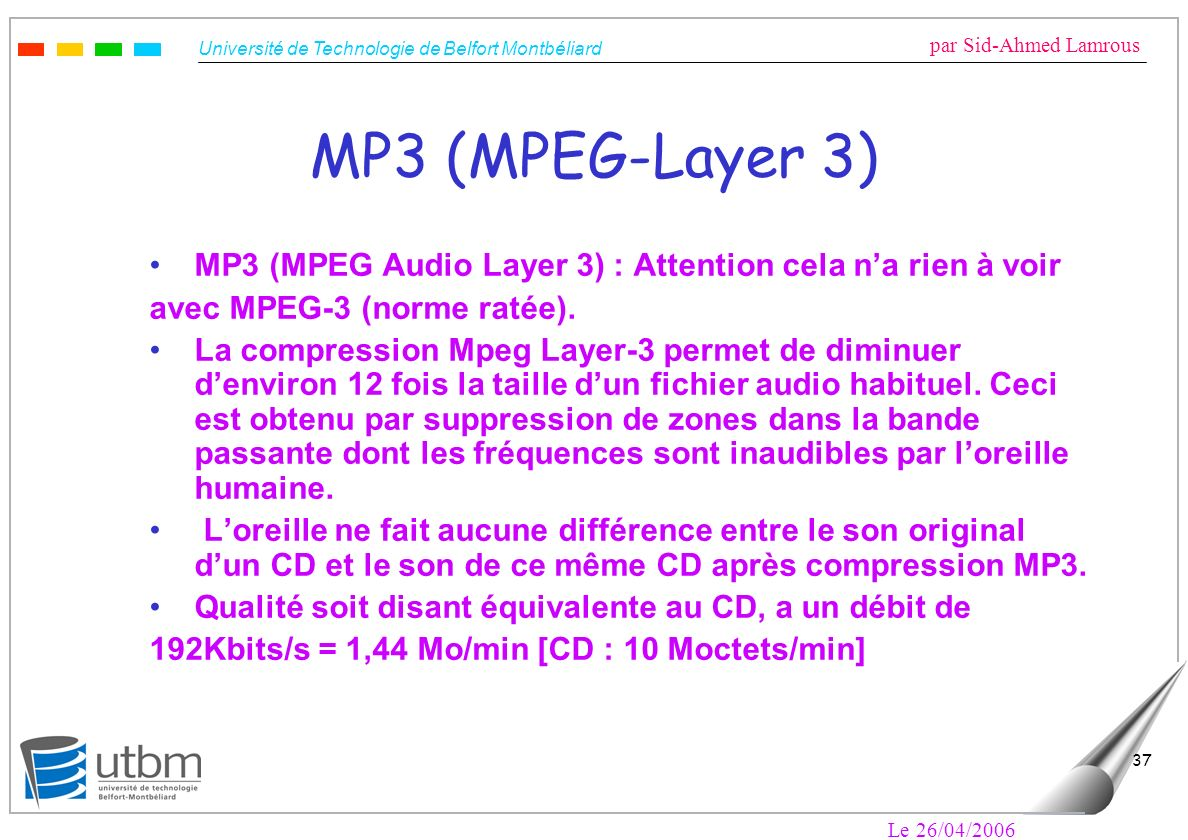 MP3 (MPEG-Layer 3) MP3 (MPEG Audio Layer 3) : Attention cela n'a rien à voir. avec MPEG-3 (norme ratée).