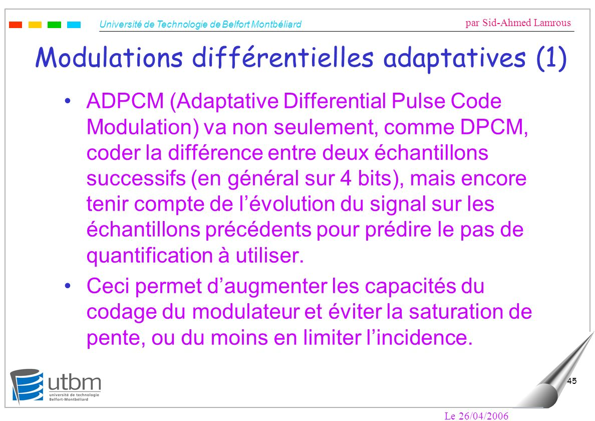 Modulations différentielles adaptatives (1)
